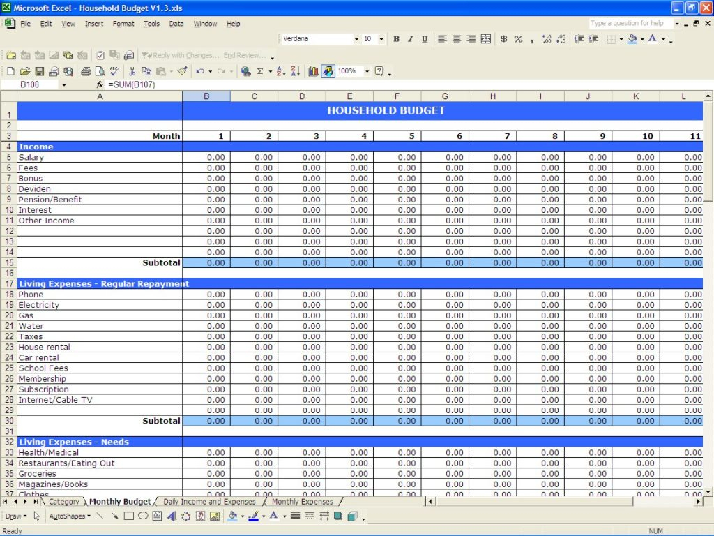 Spreadsheet For Bills And Income Regarding Basic Income And Expenses Spreadsheet Expense Apaqpotanistco Sample
