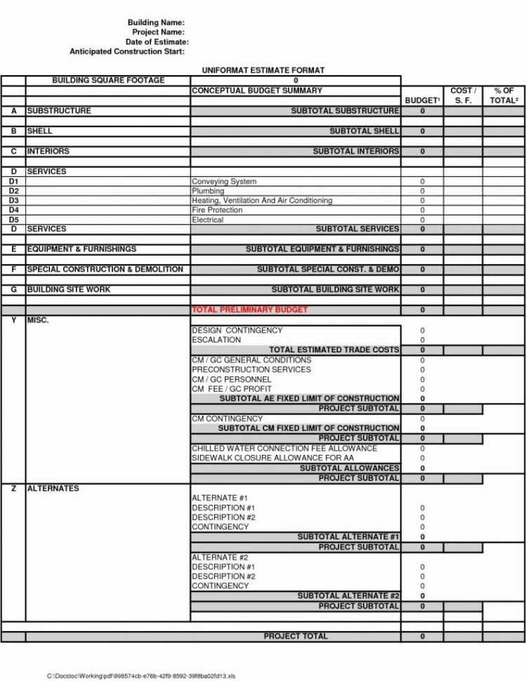 Spreadsheet For Building A House In Building Cost Estimator Spreadsheet Estimate Excel Home Construction