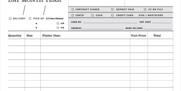 Spreadsheet For Catering Business Regarding 8  Catering Order Form Free Samples, Examples Download  Free