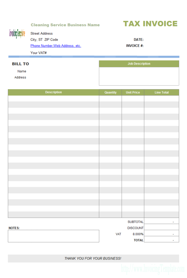 Spreadsheet For Cleaning Business Inside Invoice Template Cleaning Company