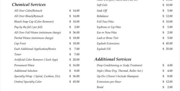 Spreadsheet For Hairdressers Regarding 9  Salon Price List Templates  Free Samples, Examples, Formats