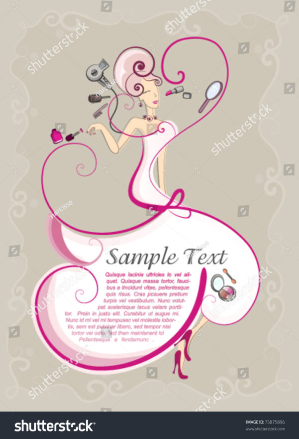 Spreadsheet For Hairdressers Throughout Beauty Style Hair Makeup Flyer Template Stock Vector Royalty Free