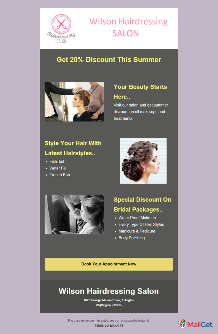 Spreadsheet For Hairdressers Within 10 Best Free Hair Salon Email Newsletters Templates  Mailget