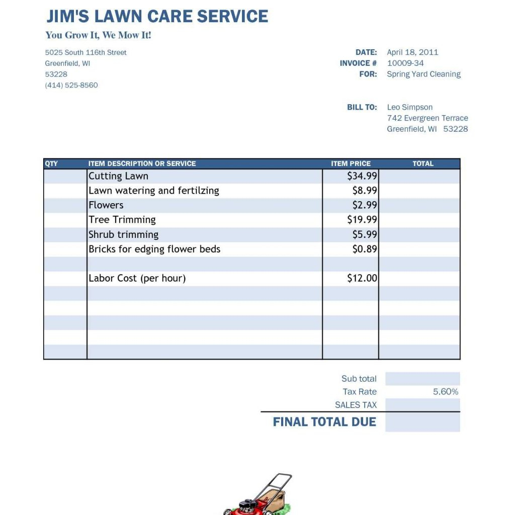 Spreadsheet For Lawn Mowing Business Download In Free Lawn Care Invoice Template  Free Business Template Inside Snow