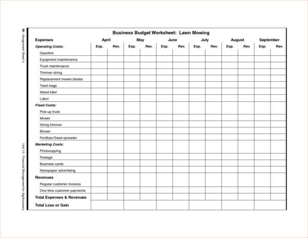spreadsheet for lawn mowing business download google