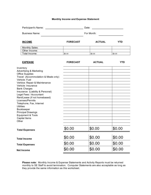 Spreadsheet For Monthly Income And Expenses Pertaining To Monthly Income And Expense Statement List Of Monthly Income And