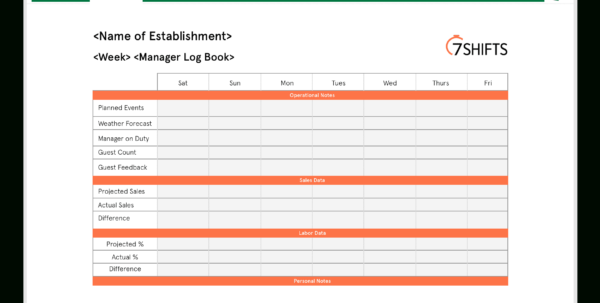 Spreadsheet For Restaurant Management With Regard To Free Restaurant Manager Log Book Template  7Shifts
