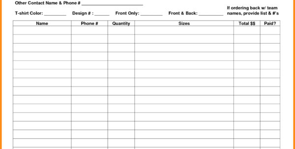 Spreadsheet For T Shirt Orders For Form Templates T Shirt Order Template Pdf Excel Excellent Tee ~ Pladevia