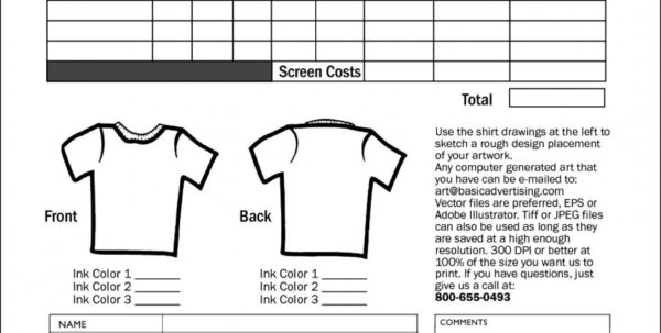Spreadsheet For T Shirt Orders Within T Shirt Order Form Template Pdf Blank Excellent Templates Tee ~ Pladevia