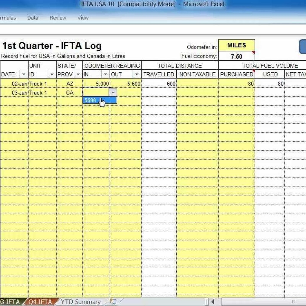 Spreadsheet For Truckers With Ifta Spreadsheet Fuel Tasoftware Ndash Usa Truckers For Up To 10