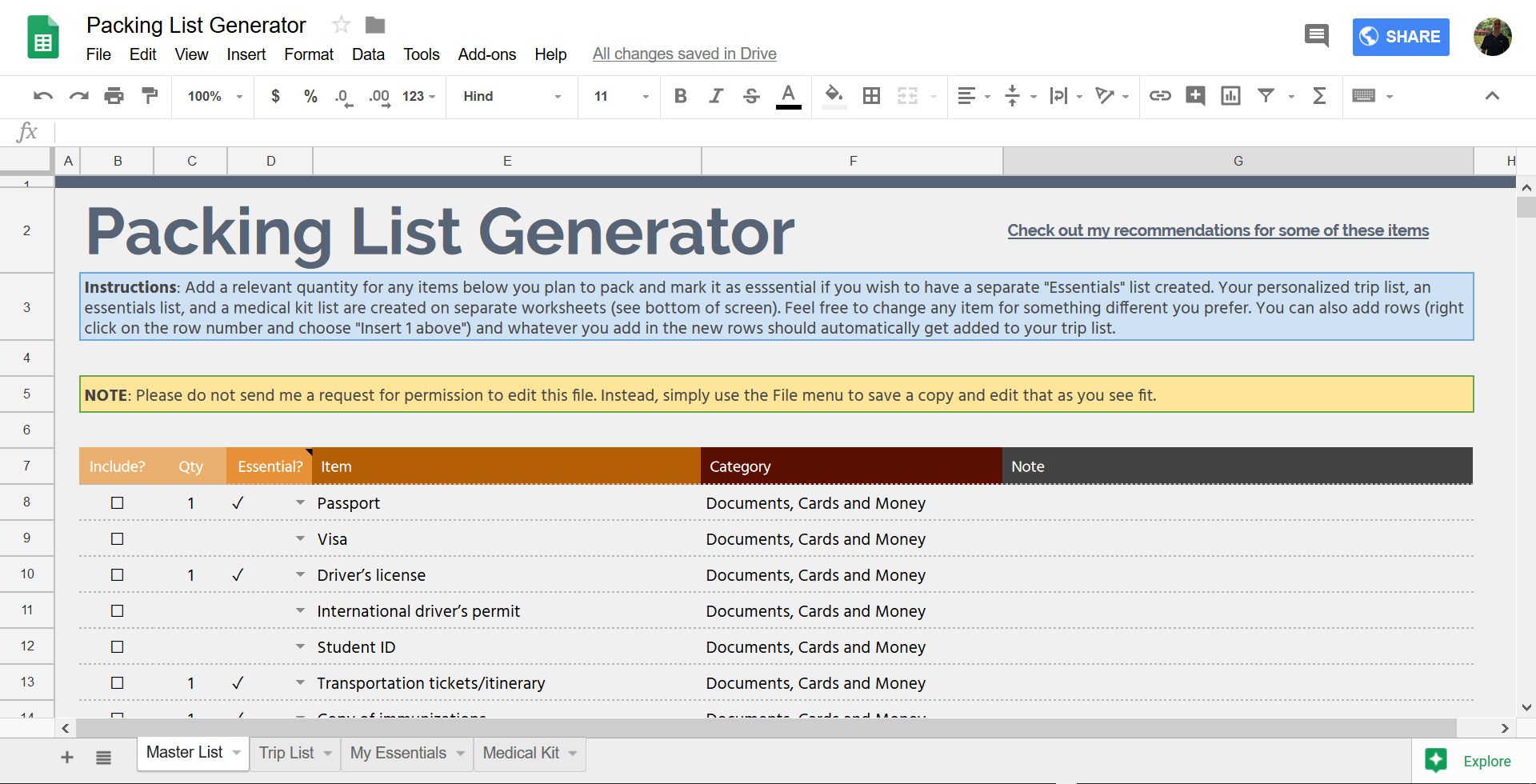 Spreadsheet Generator Pertaining To Packinglistgeneratorgooglesheetsmasterlist  Lengthy Travel