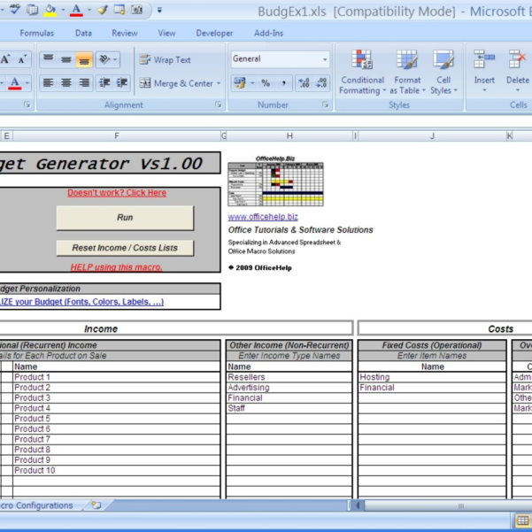 Spreadsheet Generator With Officehelp  Macro 00048  Budgex  Budget Generator For Regarding