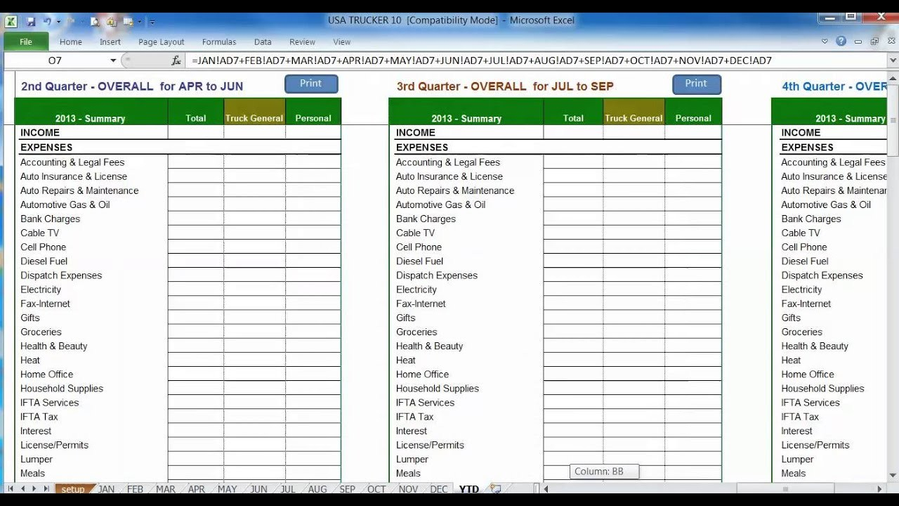 Spreadsheet Gifts Inside Trucking Expense Spreadsheet Homebiz4U2Profitcom Ifta Sample