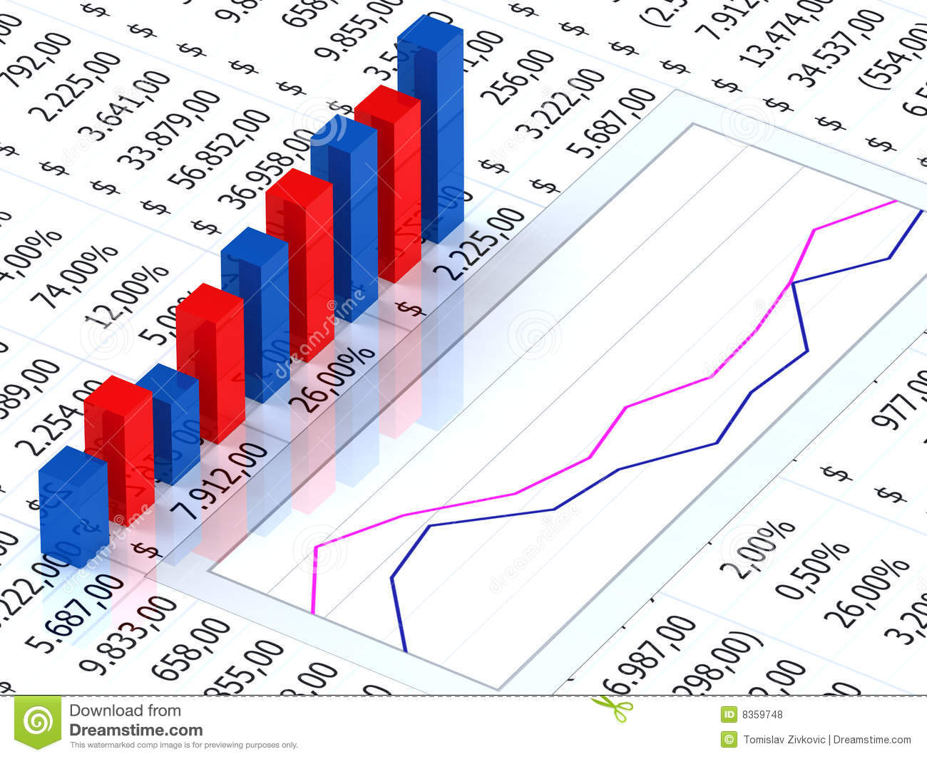 Spreadsheet Graph With Spreadsheet With Graph Stock Illustration. Illustration Of Results