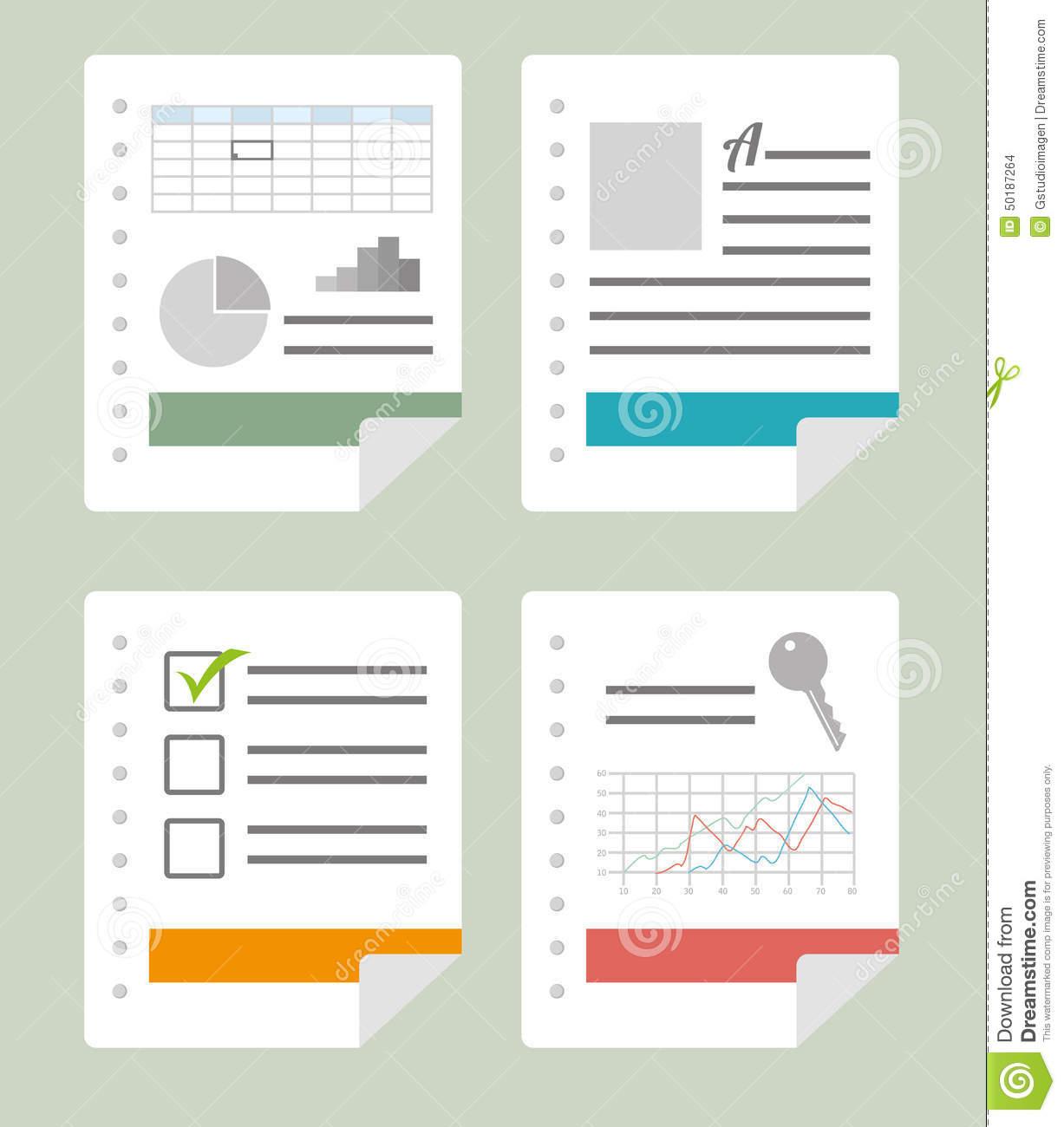 Spreadsheet Graphics In Spreadsheet Design, Vector Illustration. Stock Vector  Illustration