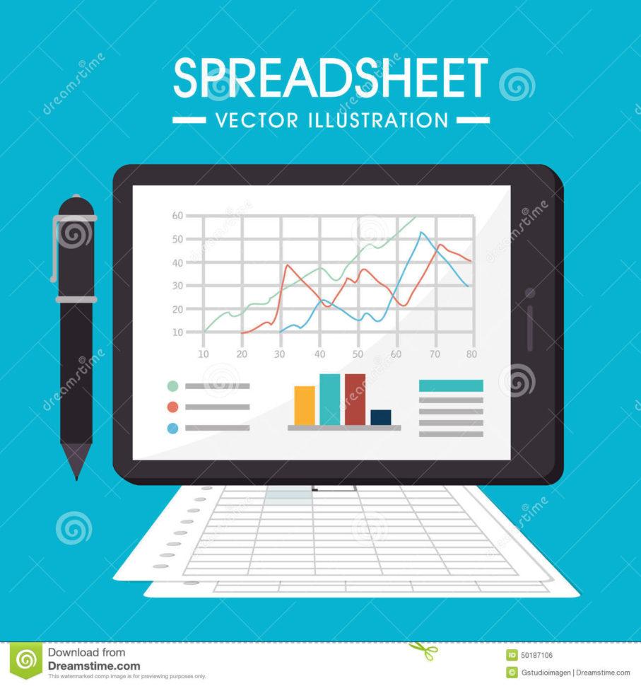 Spreadsheet Graphics Intended For Spreadsheet Design, Vector Illustration. Stock Vector  Illustration