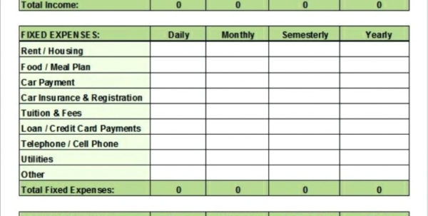 Spreadsheet Ideas For Students Inside 017 College Student Budget Template Ideas For Students Worksheet