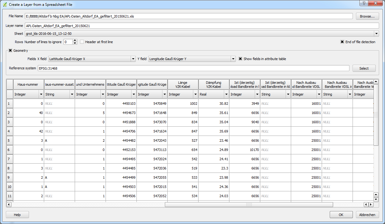 Spreadsheet Images Pertaining To Qgis Create Layer From Spreadsheet File Spreadsheet Layer Plugin
