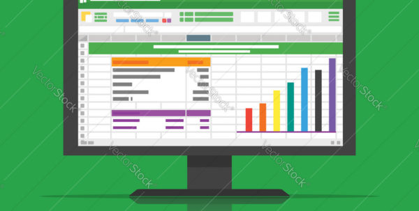 Spreadsheet In Computer Within Spreadsheet Icon Computer Flat Royalty Free Vector Image