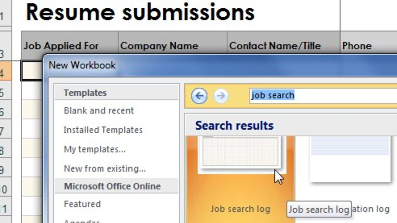 It's just a photo of Sly Printable Job Search Log