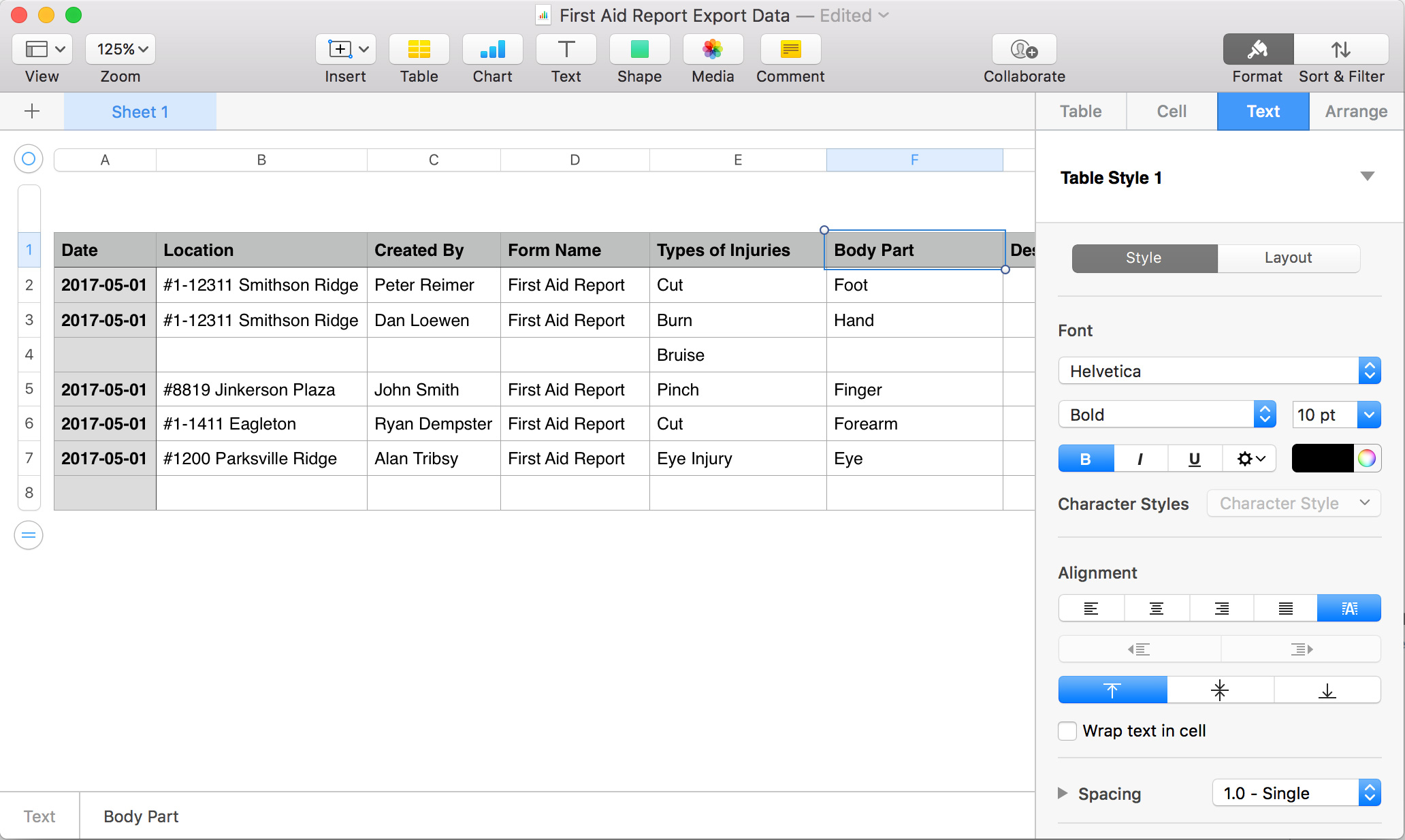 Spreadsheet Layout In Understanding Spreadsheet Layout – Sitedocs Help Center