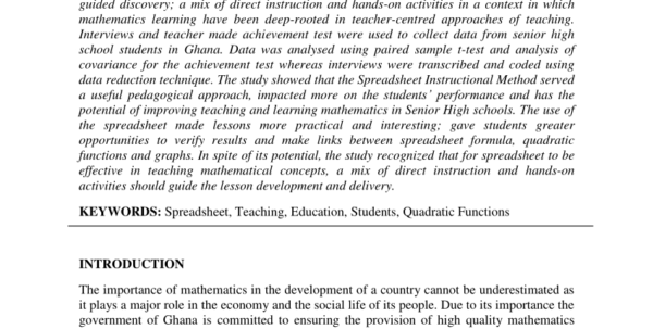 Spreadsheet Lessons For High School Inside Pdf Effect Of Using Spreadsheet In Teaching Quadratic Functions On