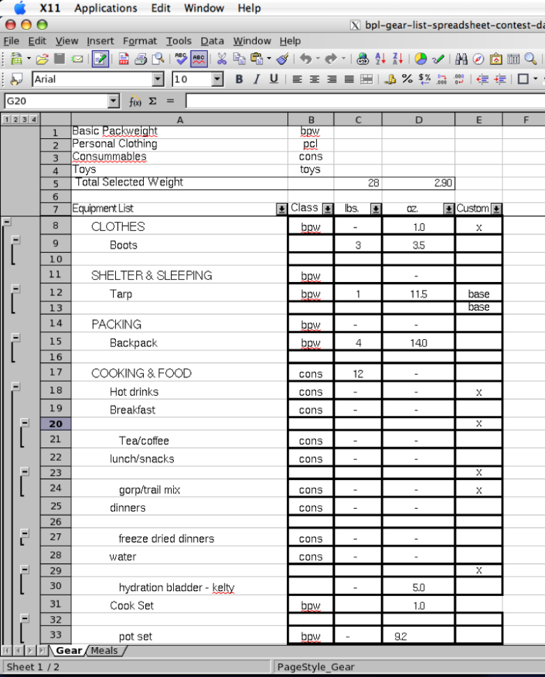 Spreadsheet List Regarding 2005 Backpacking Light Trip Planning Spreadsheet Contest Entries