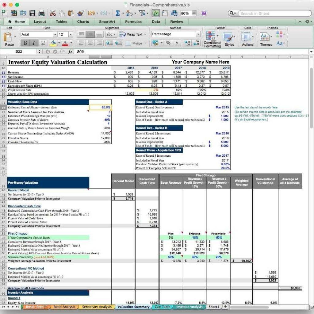 Spreadsheet Model Excel Inside Business Valuation Spreadsheet Hotel Financial Model My Pinterest