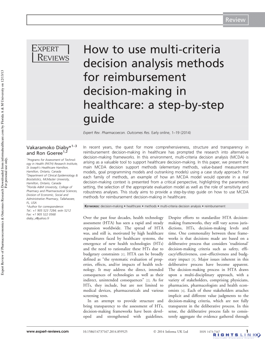 Spreadsheet Modeling & Decision Analysis 8Th Edition Inside Pdf How To Use Multicriteria Decision Analysis Methods For
