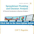 Spreadsheet Modeling And Decision Analysis 8Th Edition Regarding Audiobook Spreadsheet Modeling Decision Analysis: A Practical