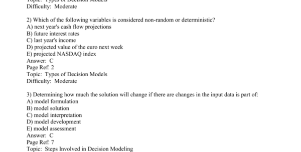 Spreadsheet Modeling And Decision Analysis Answer Key Within Managerial Decision Modeling W/ Spreadsheets Chapter 1