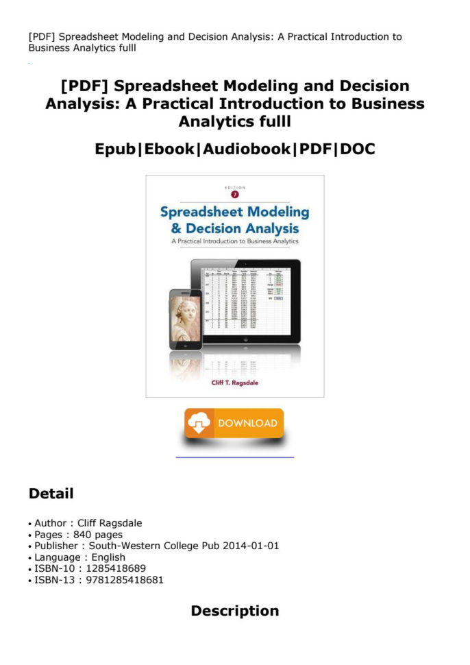 Spreadsheet Modeling And Decision Analysis Ebook In Spreadsheet Modeling And Decision Analysis: A Practical Introduction