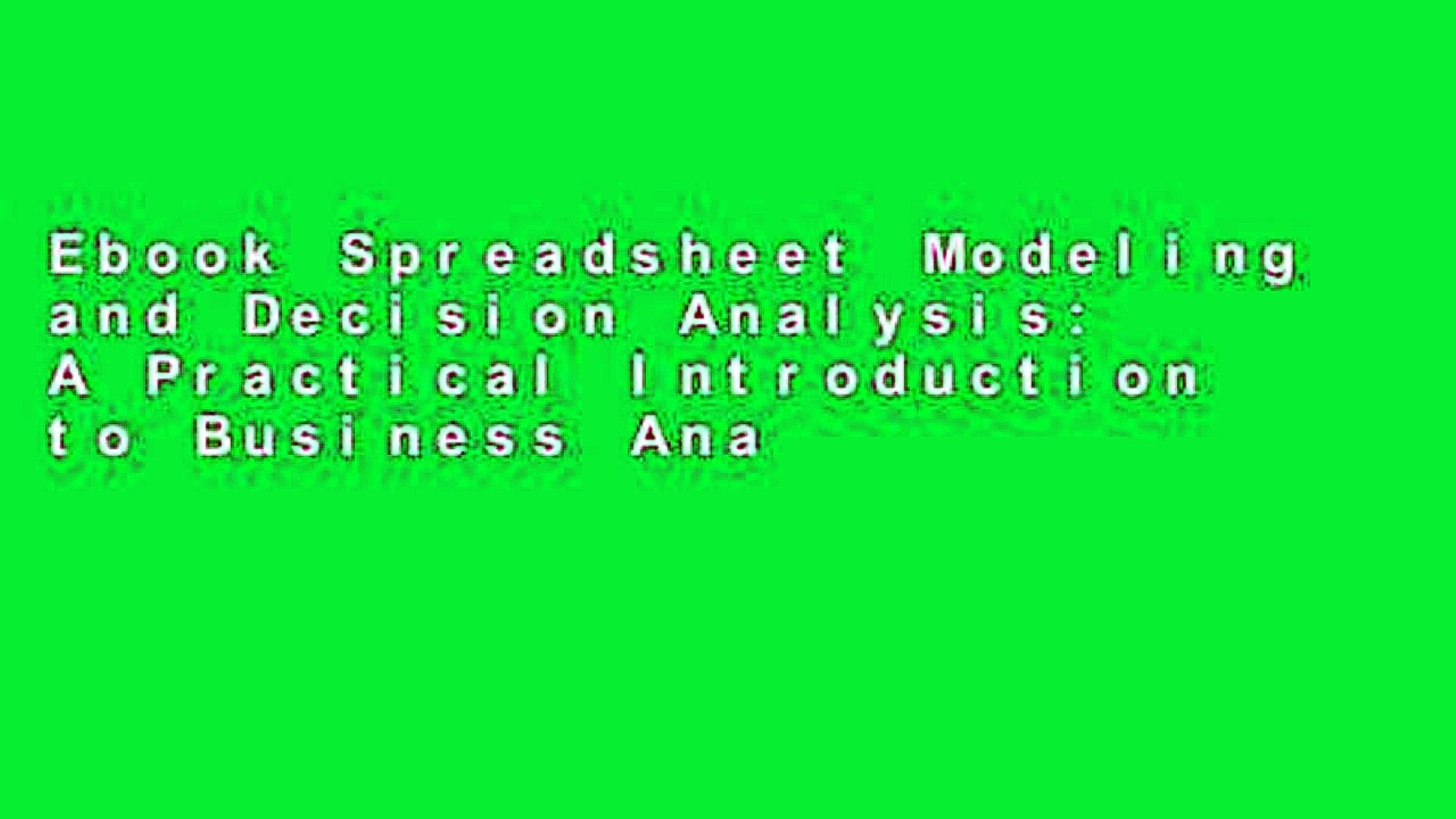 Spreadsheet Modeling And Decision Analysis Ebook Pertaining To Ebook Spreadsheet Modeling And Decision Analysis: A Practical