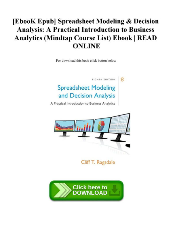 Spreadsheet Modeling And Decision Analysis Ebook Throughout Ebook Epub] Spreadsheet Modeling  Decision Analysis A Practical