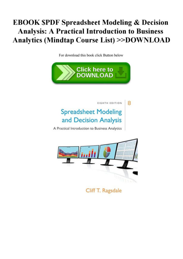 Spreadsheet Modeling And Decision Analysis Ebook Throughout Ebook $Pdf Spreadsheet Modeling  Decision Analysis A Practical