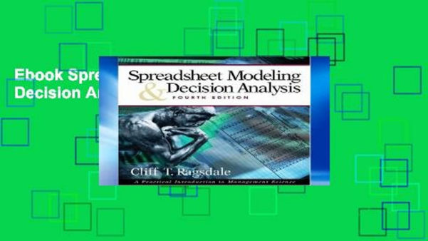 Spreadsheet Modeling And Decision Analysis Ebook With Regard To Ebook Spreadsheet Modelling And Decision Analysis Full  Video