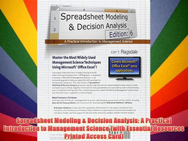 Spreadsheet Modeling And Decision Analysis Ebook With Regard To Spreadsheet Modeling  Decision Analysis: A Practical Introduction