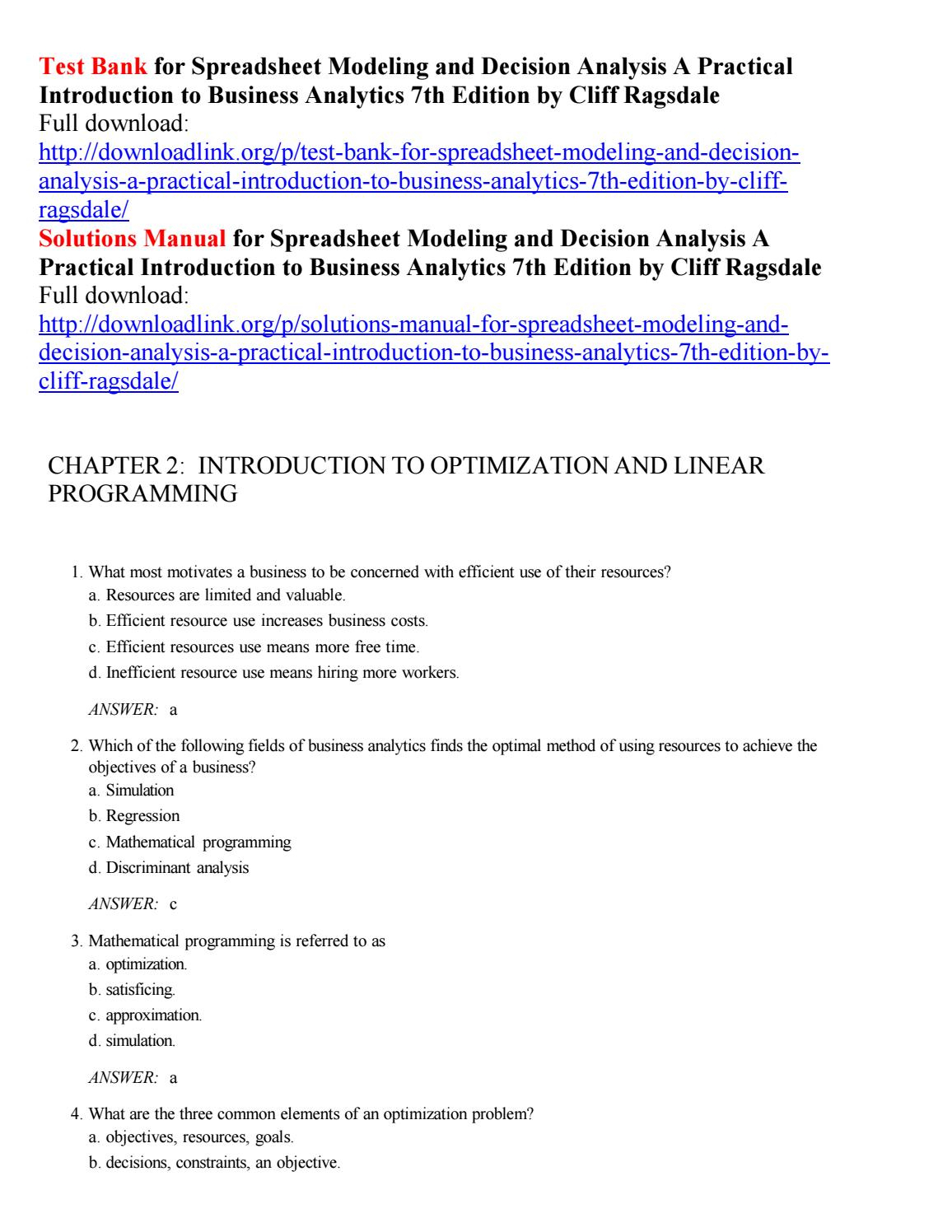 Spreadsheet Modeling And Decision Analysis Intended For Test Bank For Spreadsheet Modeling And Decision Analysis A Practical