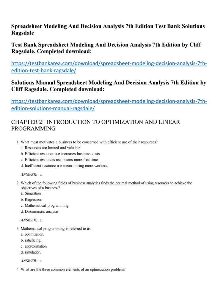 Spreadsheet Modeling And Decision Analysis Solutions Manual Free Pertaining To Spreadsheet Modeling And Decision Analysis 7Th Edition Test Bank