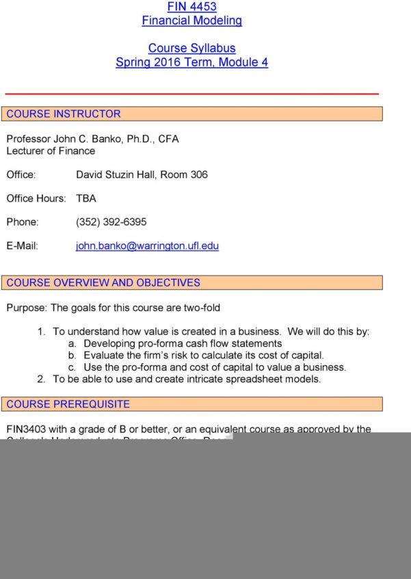 Spreadsheet Modeling Course For Fin 4453 Financial Modeling. Course Syllabus Spring 2016 Term