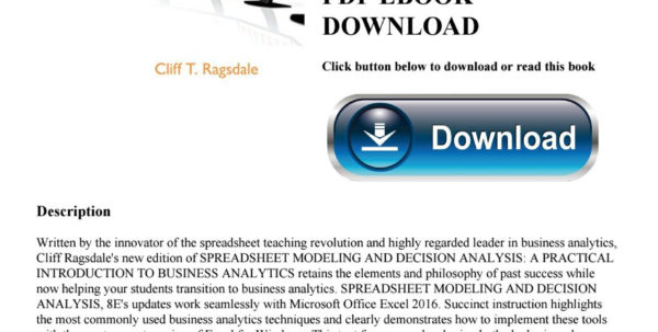 Spreadsheet Modeling Course For Read$ [Pdf] Spreadsheet Modeling  Decision Analysis A Practical
