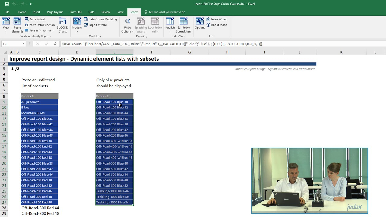 Spreadsheet Modeling Course Inside Session 3: Reporting In Excel  Lesson 3  Dynamic Element List