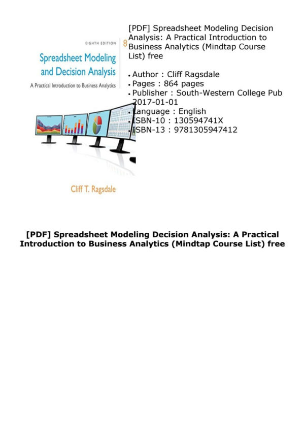 Spreadsheet Modeling Course Regarding Pdf] Spreadsheet Modeling Decision Analysis: A Practical