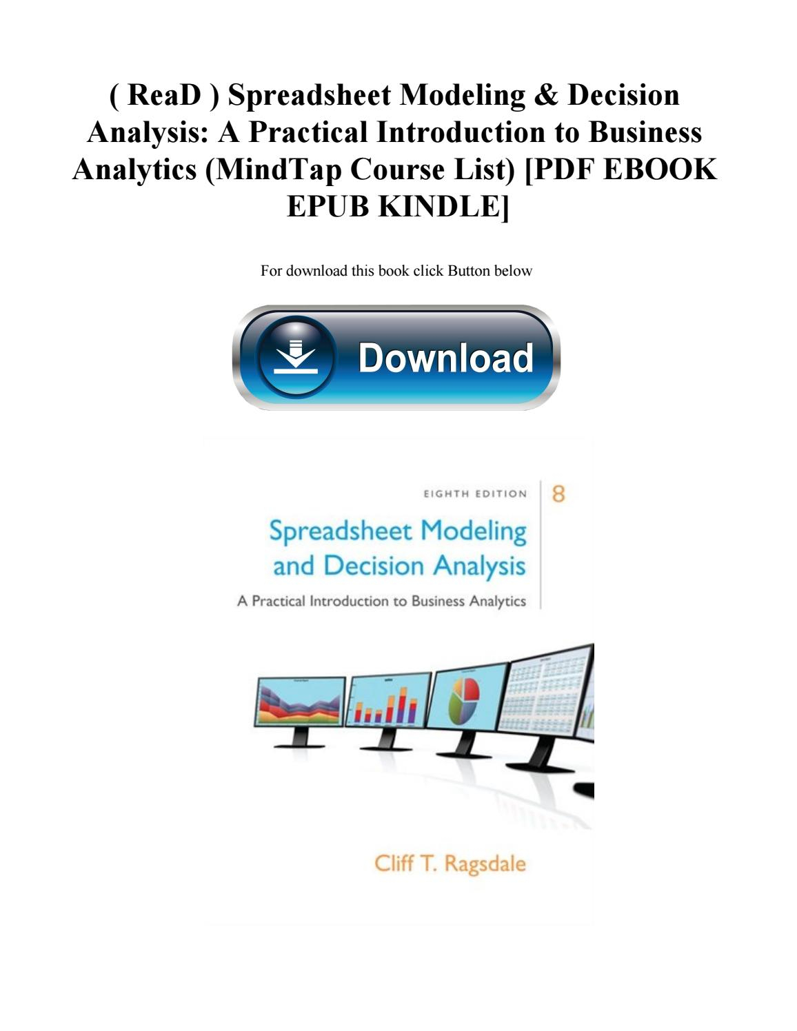 Spreadsheet Modeling Course With Read  Spreadsheet Modeling  Decision Analysis A Practical