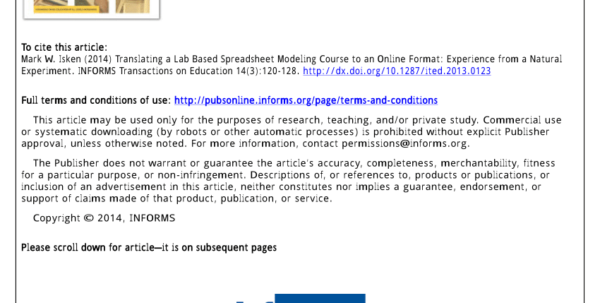 Spreadsheet Modeling Course Within Pdf Translating A Lab Based Spreadsheet Modeling Course To An