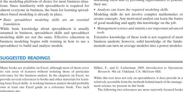 Spreadsheet Modeling For Business Decisions 3Rd Edition Throughout Summary  Management Science: The Art Of Modeling With Spreadsheets