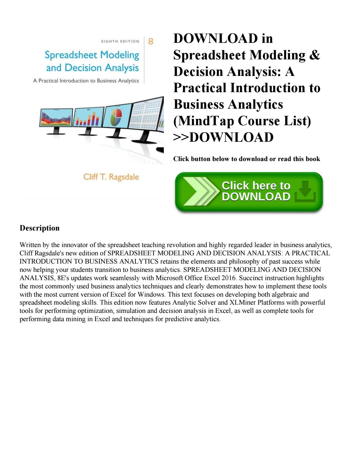 Spreadsheet Modeling For Download In [Pdf] Spreadsheet Modeling  Decision Analysis A
