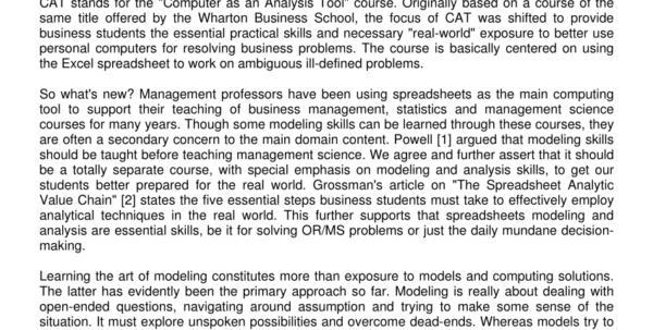 Spreadsheet Modeling Intended For Pdf Essential Spreadsheet Modeling Course For Business Students