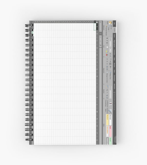 "Spreadsheet Notebook In Excel Spreadsheet"" Spiral Notebooksimthebus  Redbubble"
