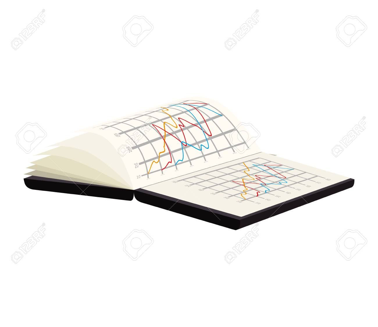 Spreadsheet Notebook Pertaining To Spreadsheet Book Notebook Analysis Chart Data Vector Illustration